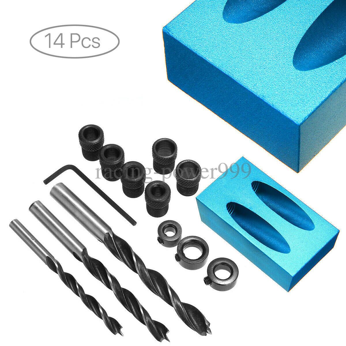 14 Pcs Inclined Hole Drill Bit Set System Screw Wood Pockethole Jig Mini Tool