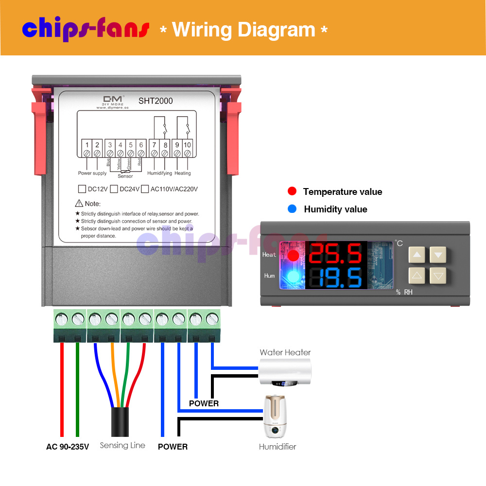 Sht2000 Stc 1000 110 220 230v Temperature Humidity Controller On Wiring I Wired My Device According To This Diagram Thermostat Sensor