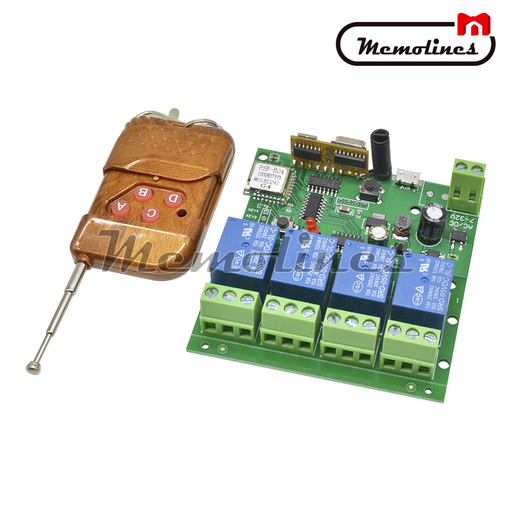 Wireless Wifi Relay Switch DC 5-32V 4 Channel 433mhz Remote Control Smart Home