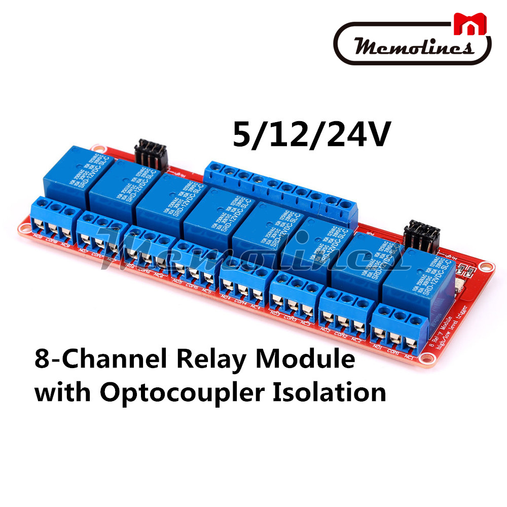 DC 12V 8-Channel 8CH Relay Module with Optocoupler Isolation H//L High//Low