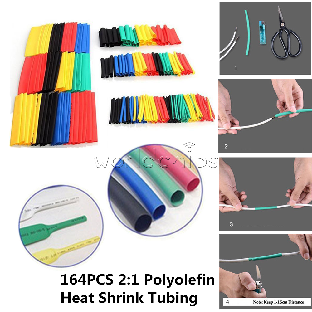 164PCS Polyolefin Heat Shrink Tubing Assorted Tube Insulated Sleeve Wire Cable