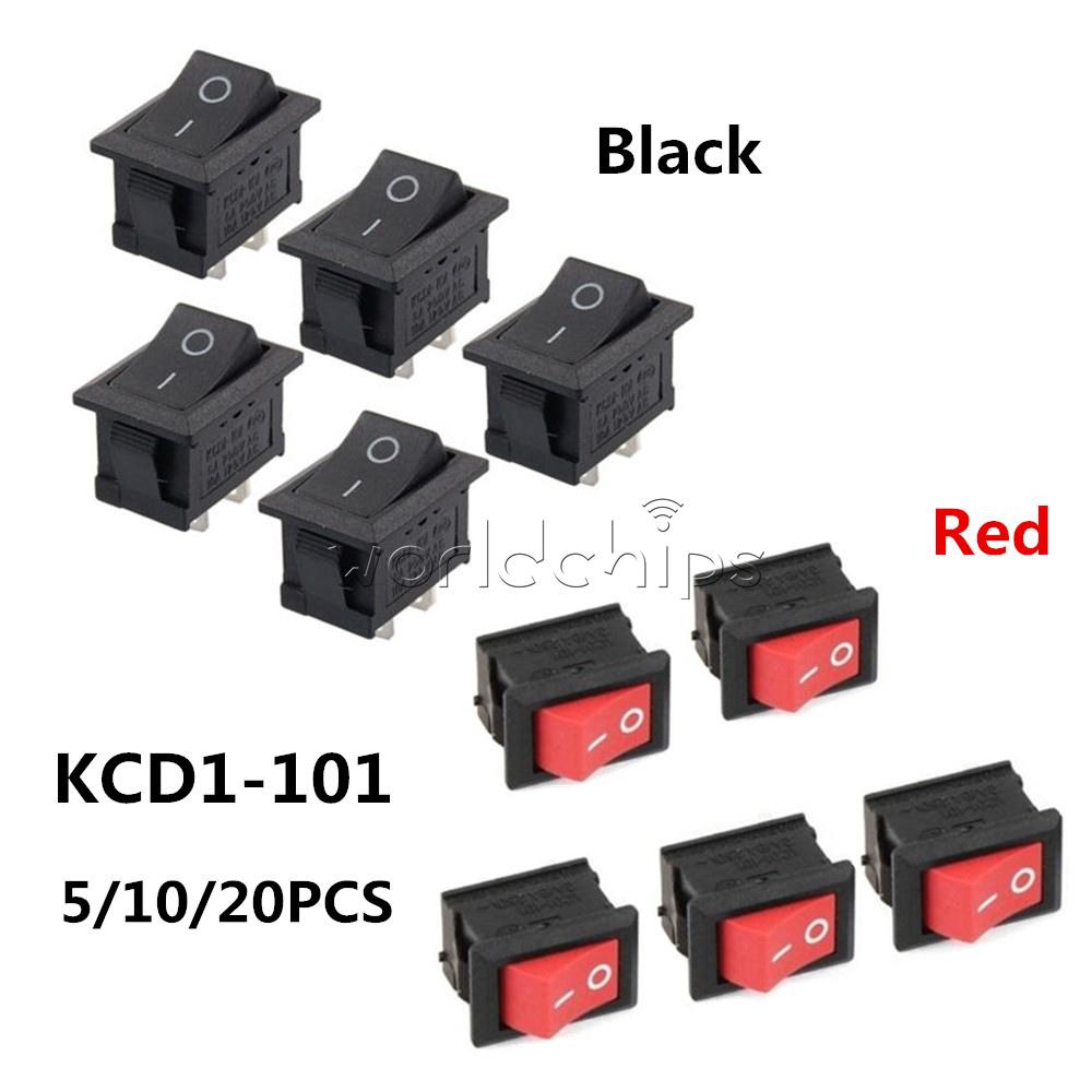 US Ship 5pcs BLACK Rocker Switch KCD1-101 250V 6A Boatlike Switch 2PIN ON OFF