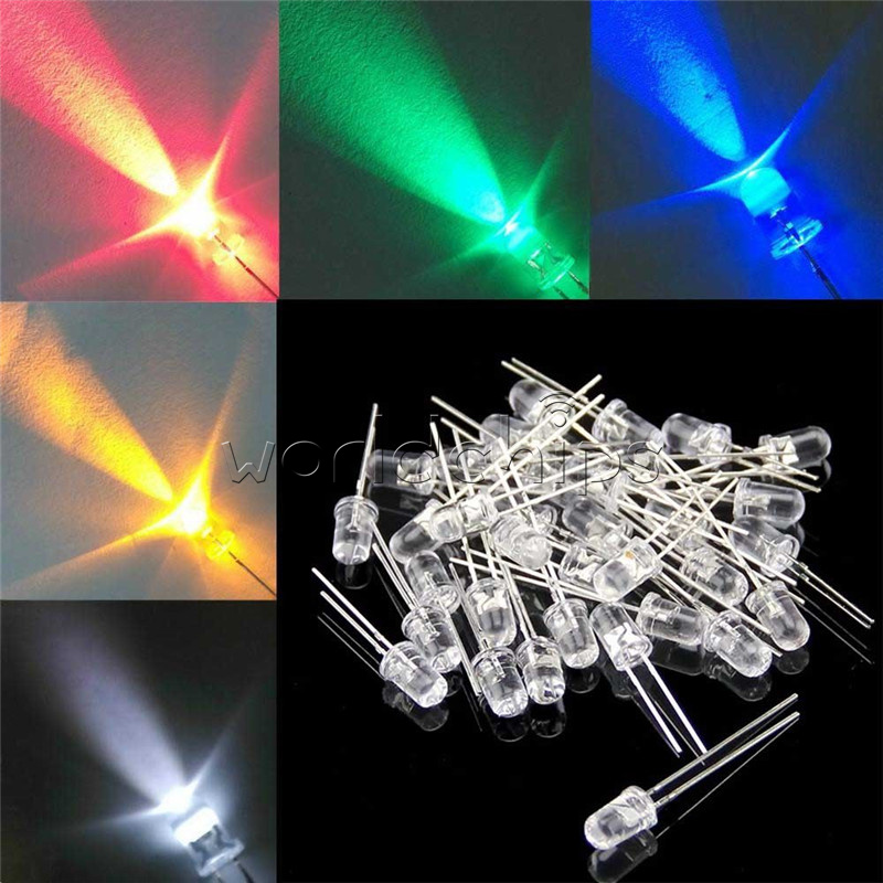 1000pcs 3//5mm Yellow//White//Round Red//Green//Blue Water Clear LED Diodes Light Kit