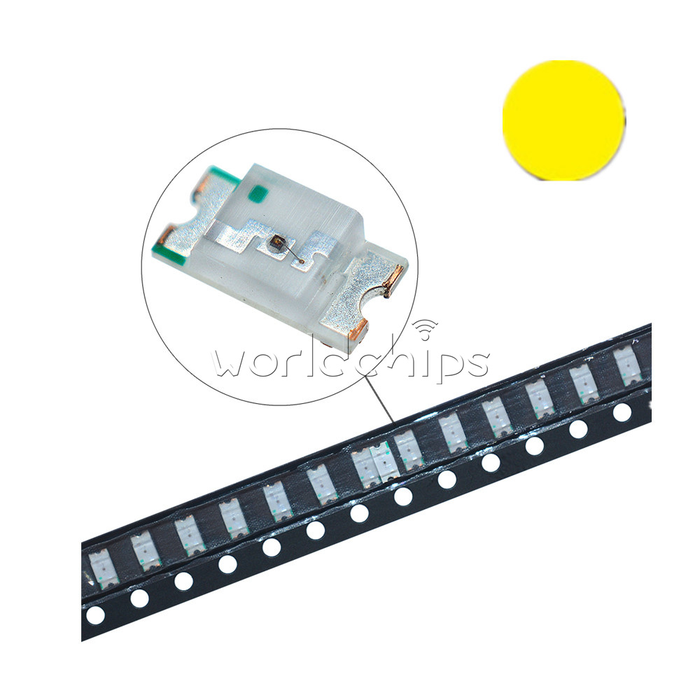 50PCS Yellow super bright 1206 smd led light bulbs car SMT Brightness High