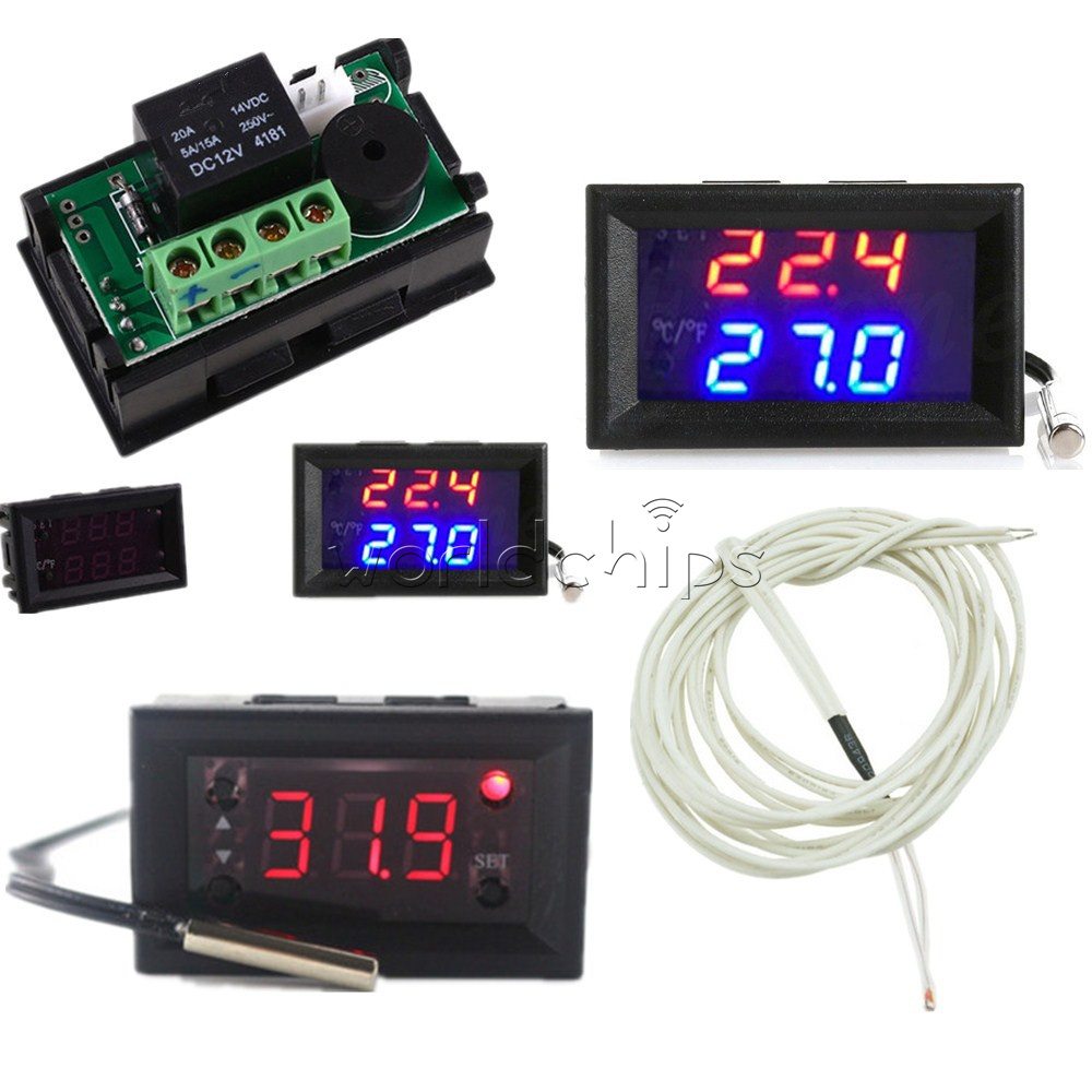 Red//Blue W1218 Thermostat DC 12V+3-Digit NTC Probe Controller Replace W1209WK