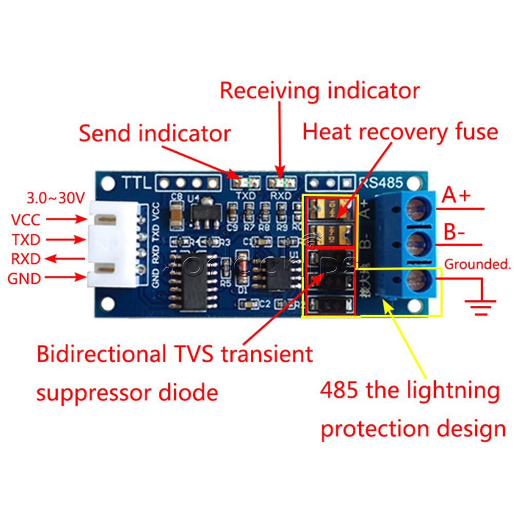 3.3V//5.0V TTL to RS485 Module Serial Port UART Hardware Automatic Flow Control