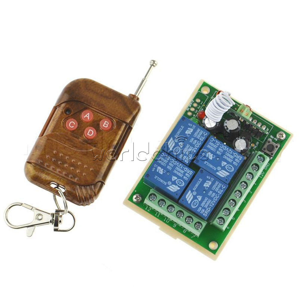 DC 12V 4 Channel Relay module remote controller switch RF receiver /& Transmitter