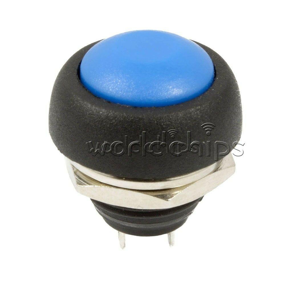 20 Pcs 12mm Waterproof Momentary ON//OFF Push Button Mini Round Switch Blue
