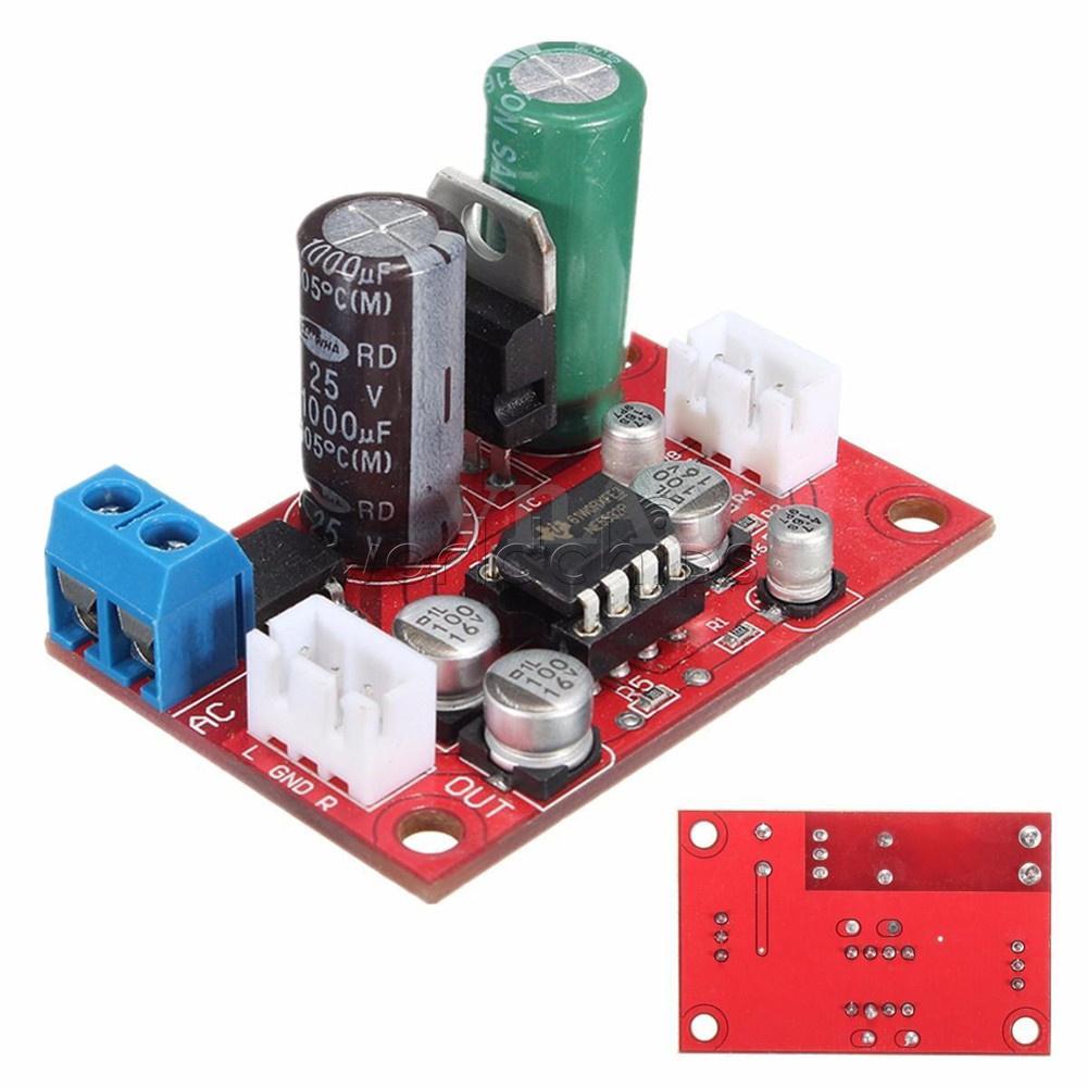 NE5532 Dynamic Microphone Stereo Preamp Amplifier Board DIY DC9-24V AC8-16V