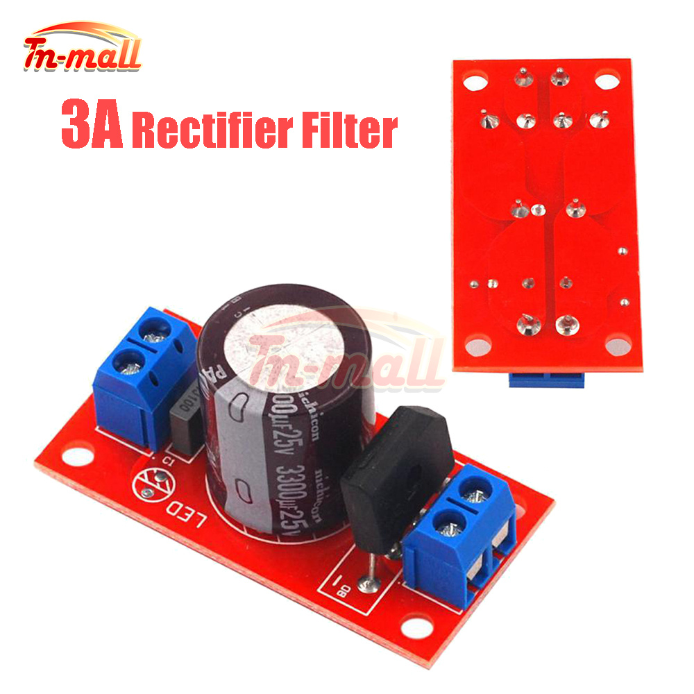Rectifier Filter Power Supply Board 3A Rectifier Power Amplifier AC Single Power to DC Single Source Board AC to DC Red