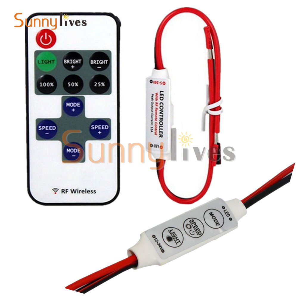 Mini 3 keys Dimmer Controller 12V RF Wireless Remote Switch Controller