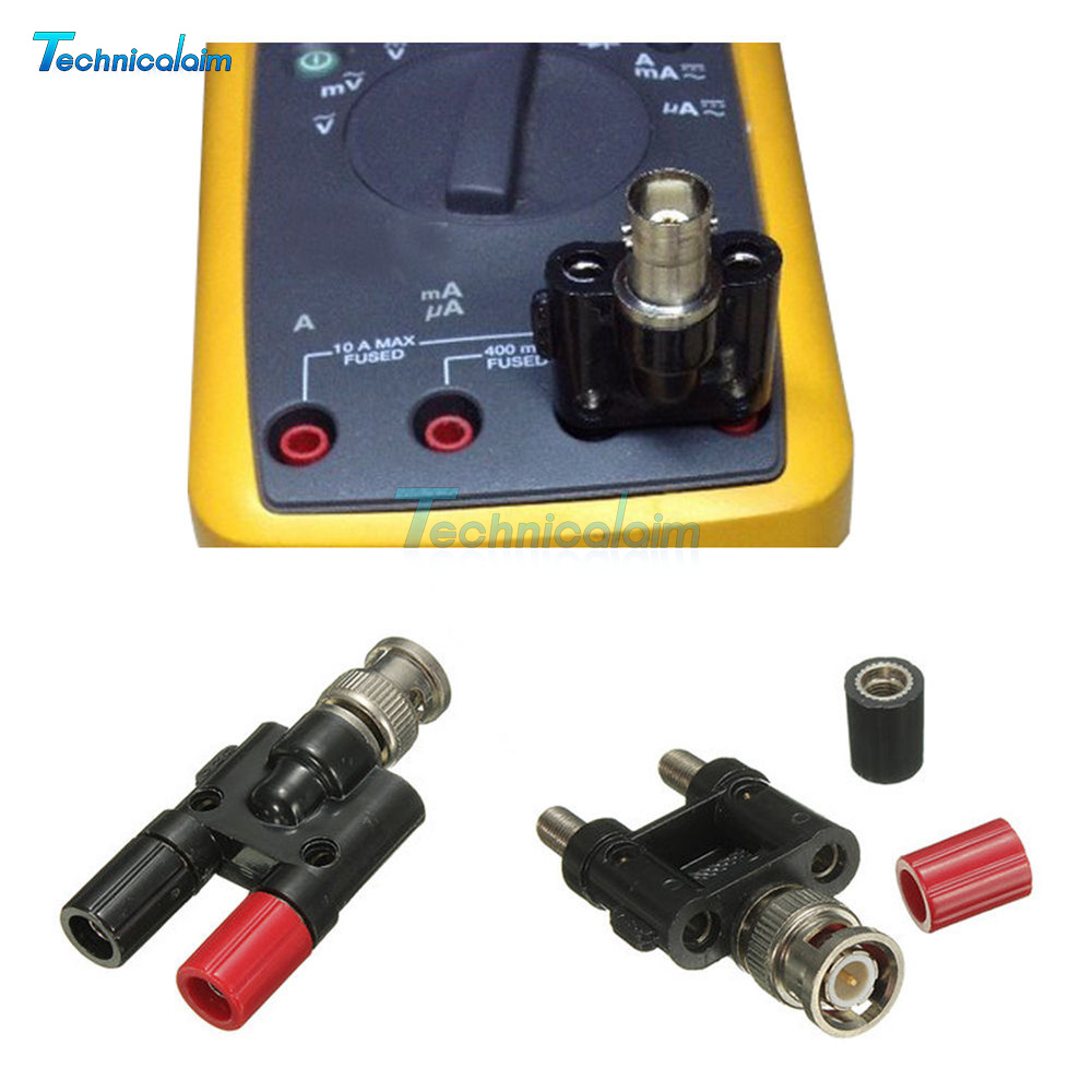 Adapter BNC Male Plug to Two Dual Banana Binding Female Connector Durable
