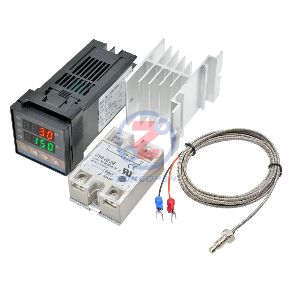 Alarm Digital PID REX-C100 Temperature Controller Set /& 1M K Thermocouple Probe