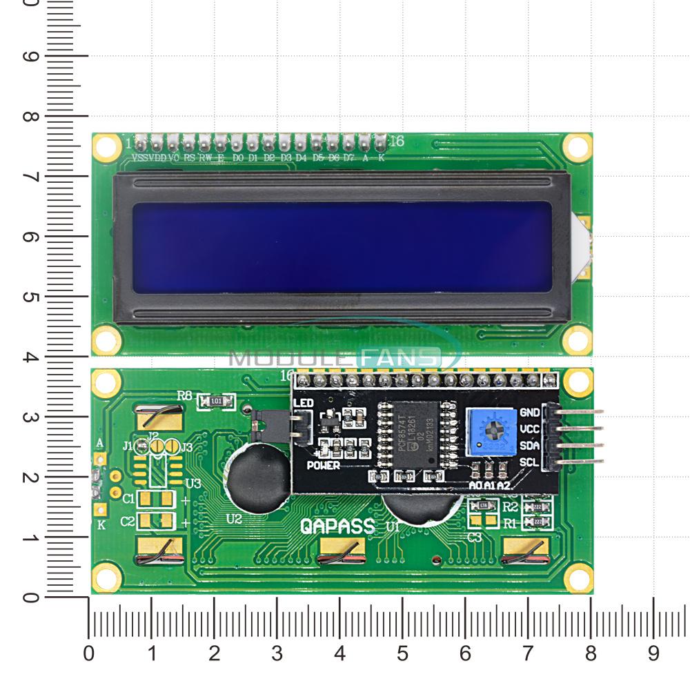 1-2-5-10PCS-1602-16X2-LCD-Module-IIC-I2C-TWI-SP-I-Serial-Interface-Blue-Display thumbnail 5