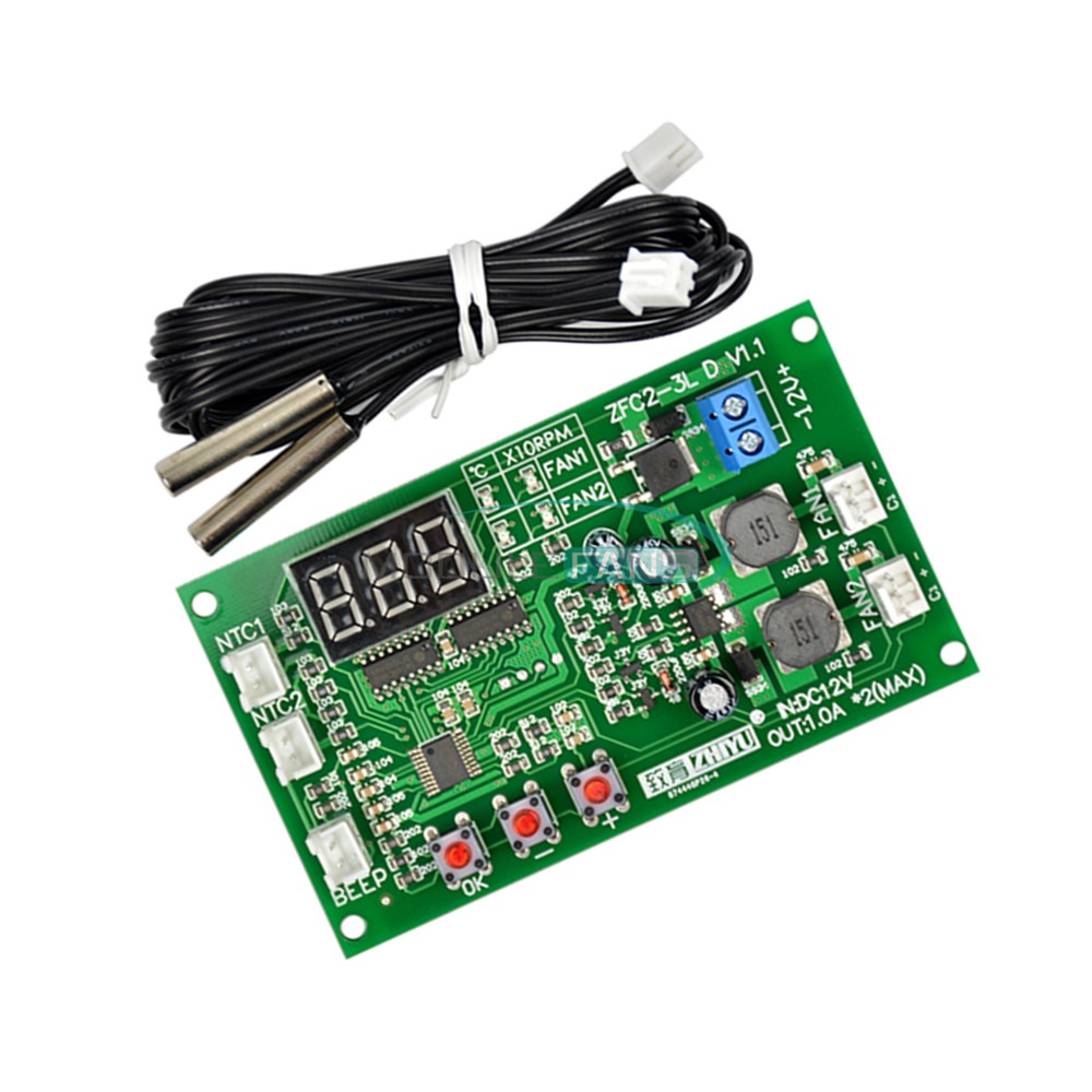 12v fan speed controller digital display dual ways 3 wire rh ebay com