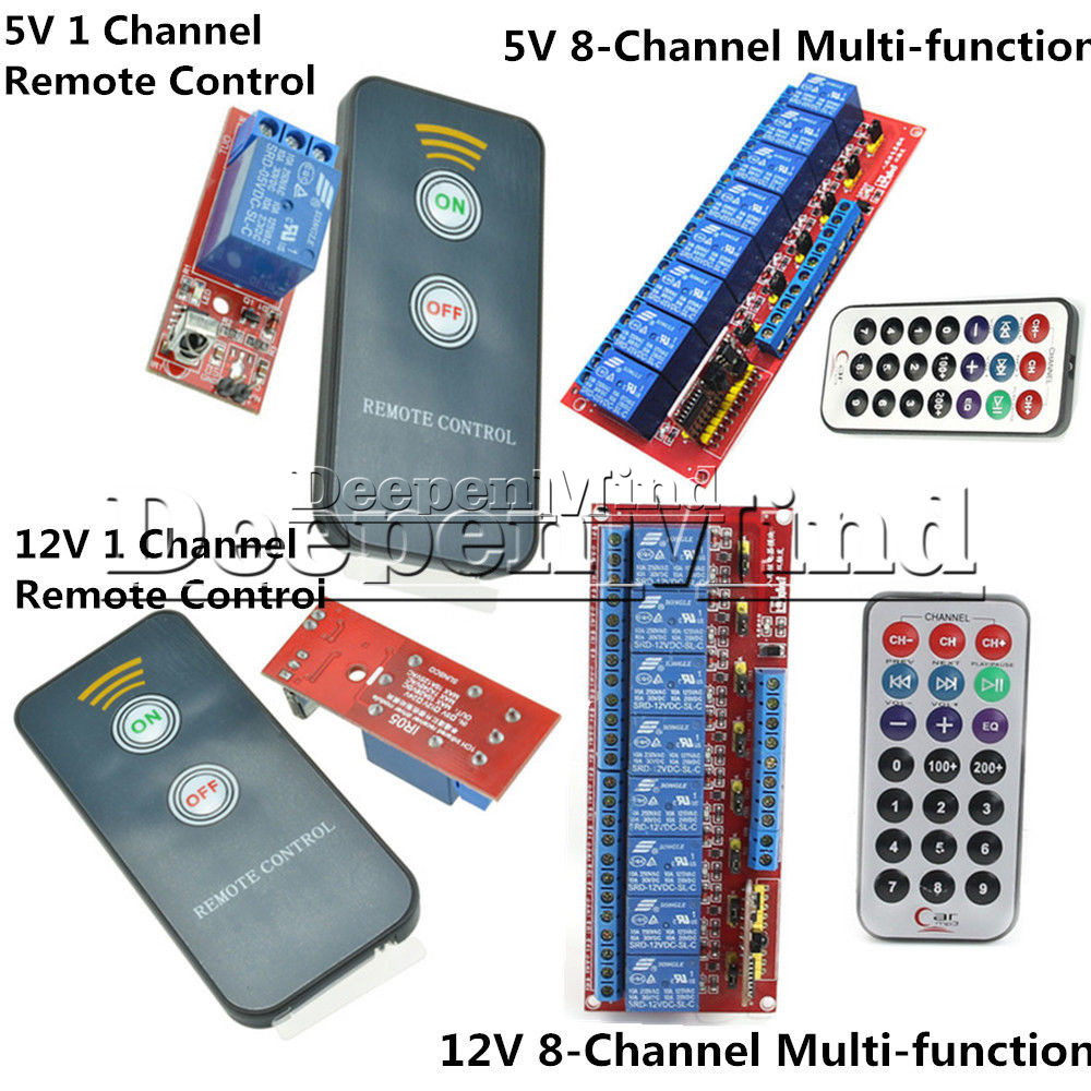 New 1//8 Channel Infrared Remote Control Switch Relay Multi-function 5//12V LED