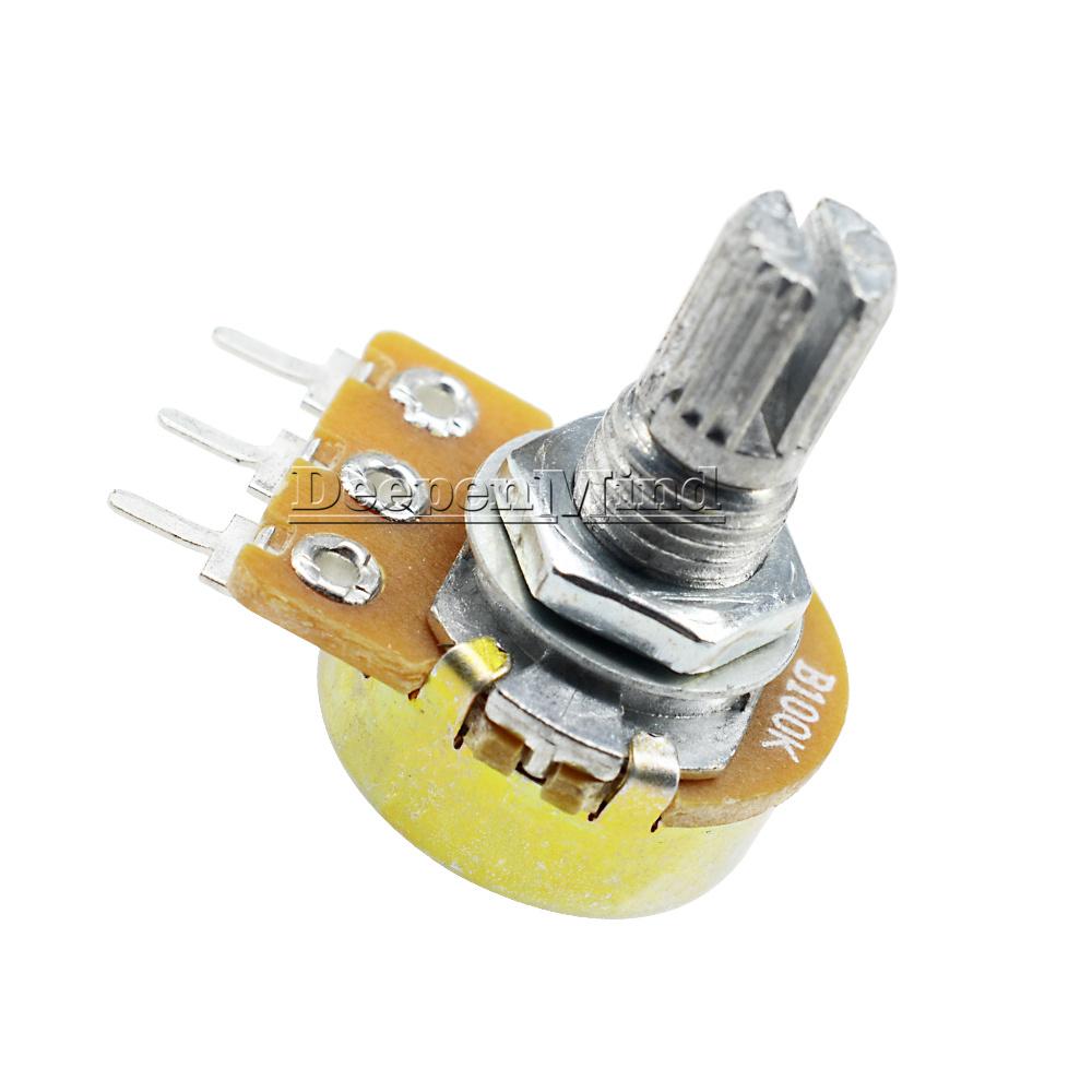 10pcs 100K Ohm B100K Knurled Shaft Linear Rotary Taper Potentiometer
