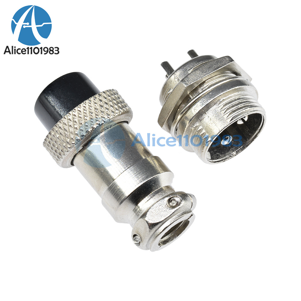 Aviation GX16-4 Male Female Pair Set 16mm Panel Connector Silver