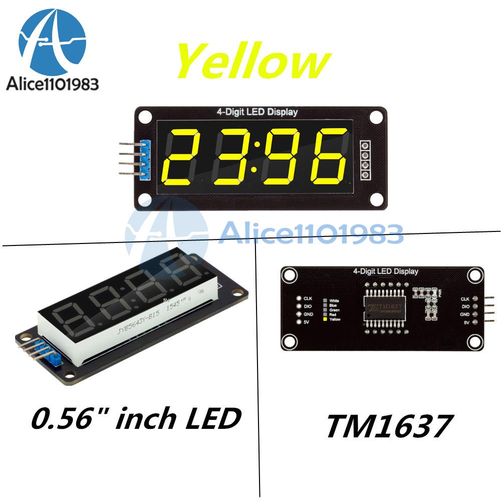 Yellow 056 Inch Tm1637 4 Bits Digital Led Clock Tube Display For Using Pic Microcontroller Arduino