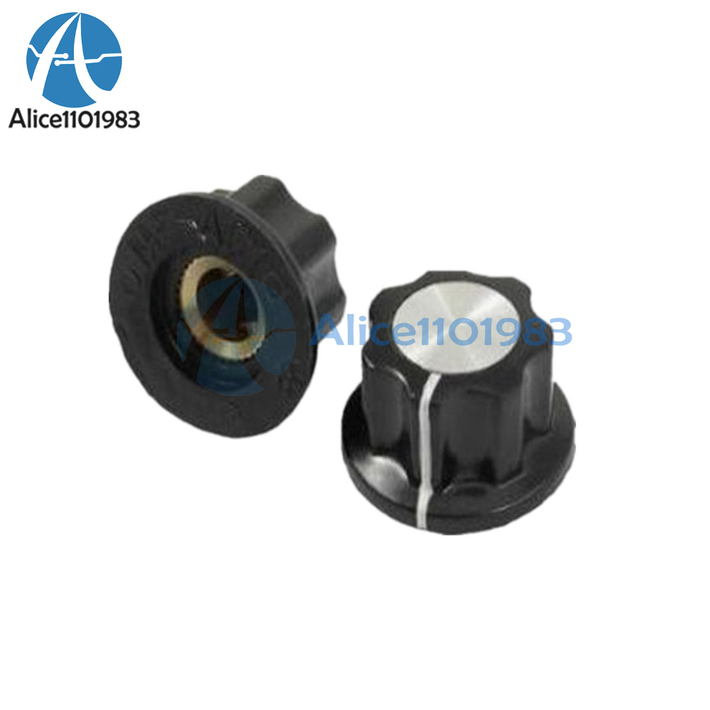 10Pcs Top Rotary Control Turning Knob for Hole 6mm Dia Shaft Potentiometer