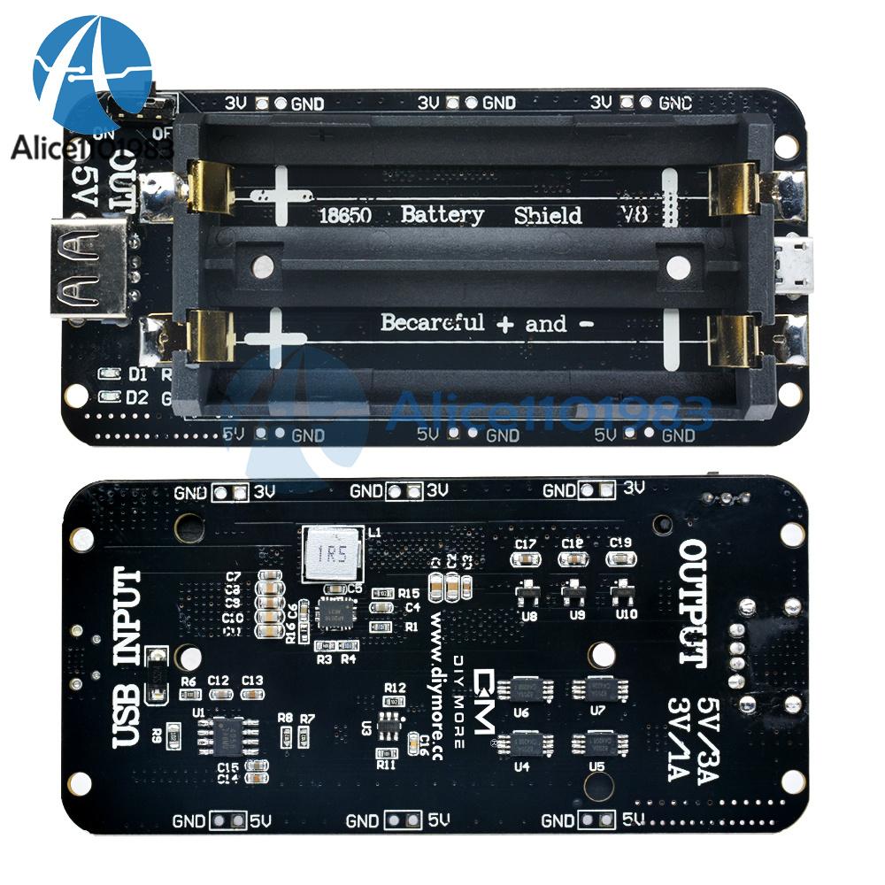 Details about 3V/5V 18650 Battery Shield V8 Mobile Power Bank for Arduino  ESP32 ESP8266 Wifi