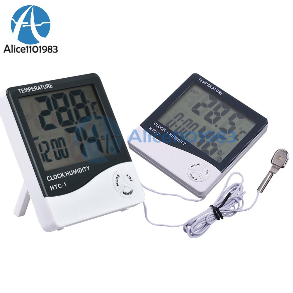 Détails sur HTC 1234 LCD Thermomètre Hygromètre Météo Température Humidité Alarme Horloge afficher le titre d'origine