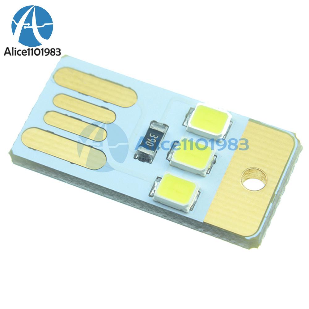 White LED Night Light Pocket Card Lamp Bulb Keychain Portable USB Power Bedroom