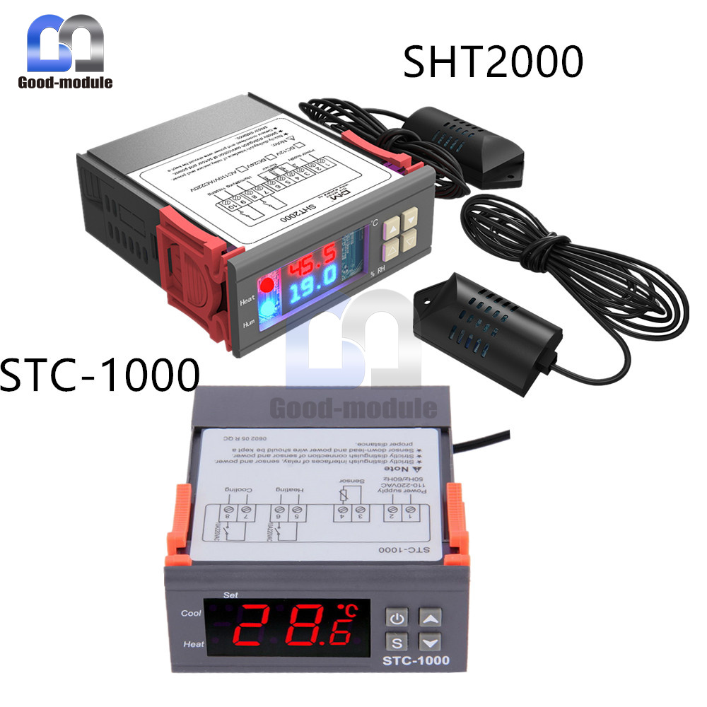 Digital Stc 1000 Sht2000 110 220 230v Temperature Humidity Stc1000 Microcomputer Controller 220v W Sensor Thermostat