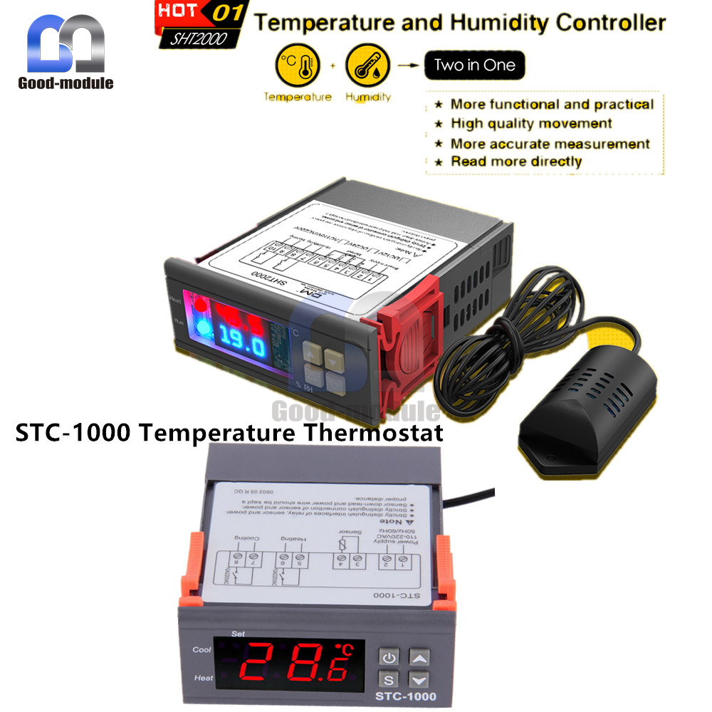 Digital Stc 1000 Sht2000 110 220 230v Temperature Humidity Controller Wiring Thermostat