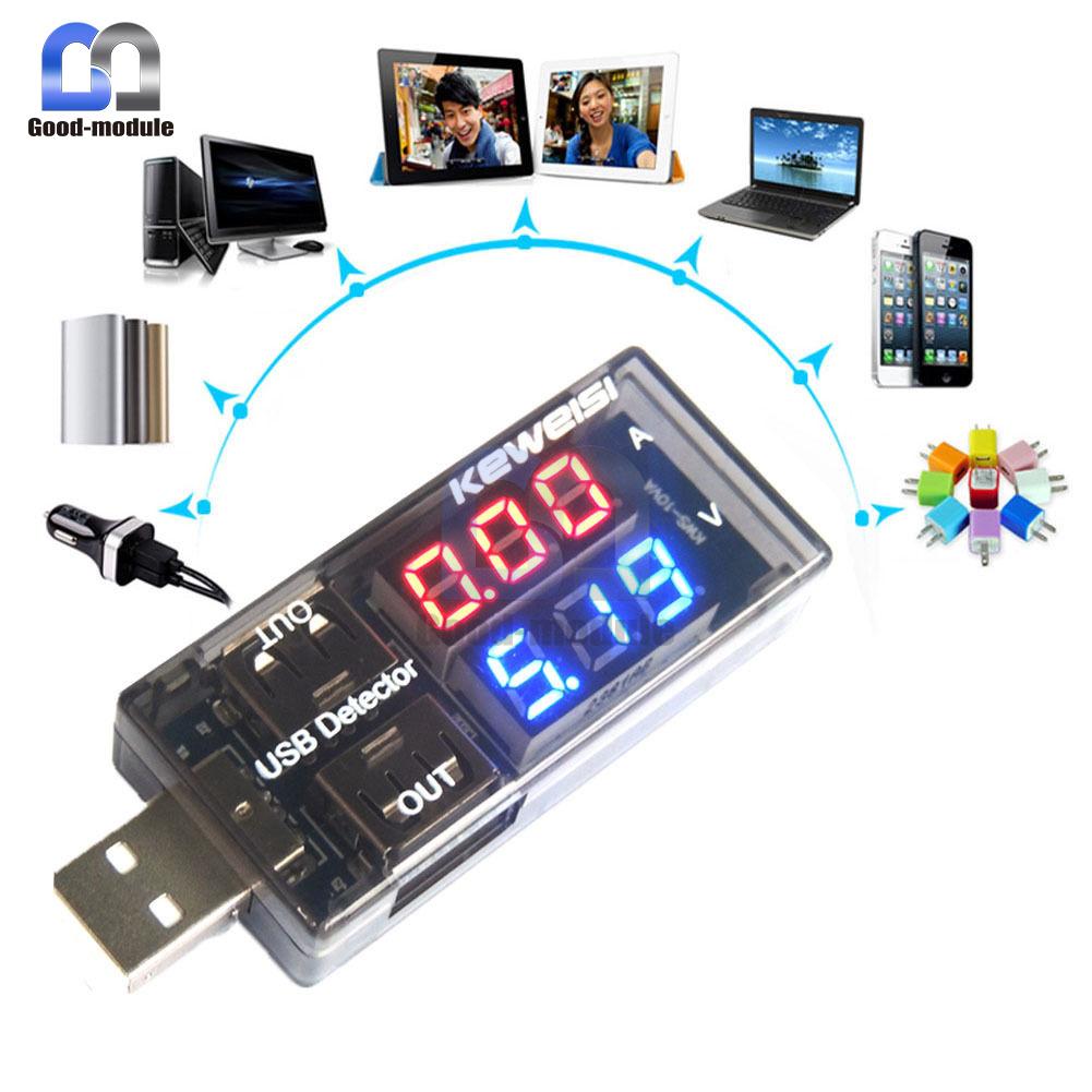 LED Voltage Current Detector fr Mobile Phone Power USB *2 Charging Tester Meter