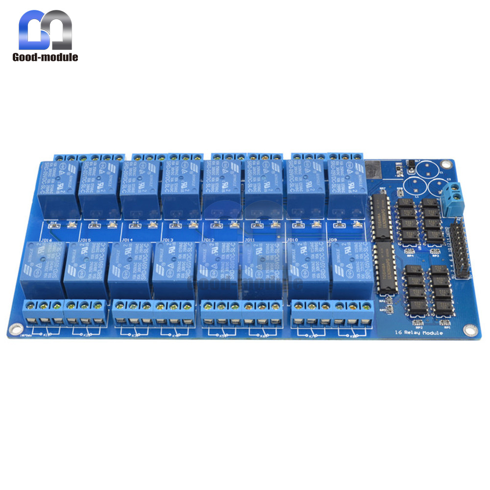 16 Channel 5v Relay Shield Module With Optocoupler For Arduino New High Current Equiped Ac250v 10a Dc30v Standard Interface That Can Be Controlled Directly By Microcontroller