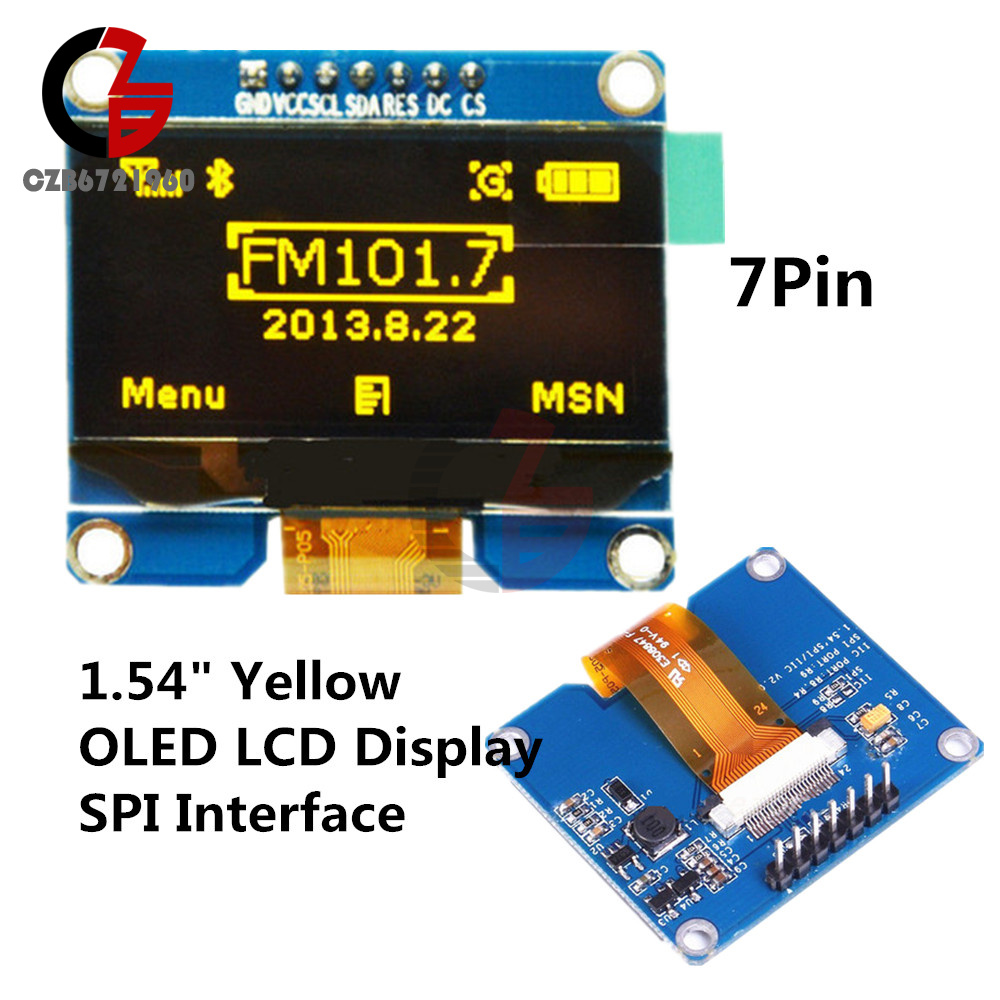Yellow 1.54 inch OLED Display Module128x64 SPI 3.3V~5V SSD1309 for Arduino
