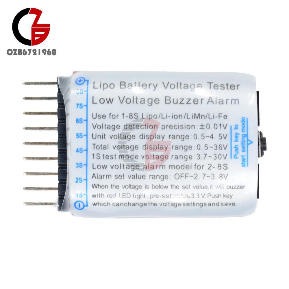 RC LiPo Batteria Basso Voltaggio Tester BBX1-8S Buzzer Indicatore LED di Allarme Controllo