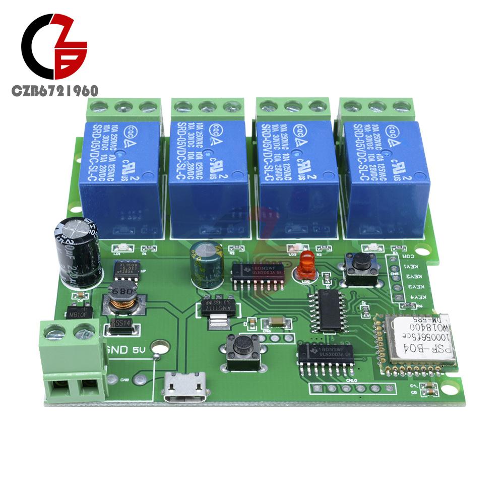 DC 7-32V 4 canal interruptor de relé retraso WIFI módulo de control remoto inalámbrico de aplicación