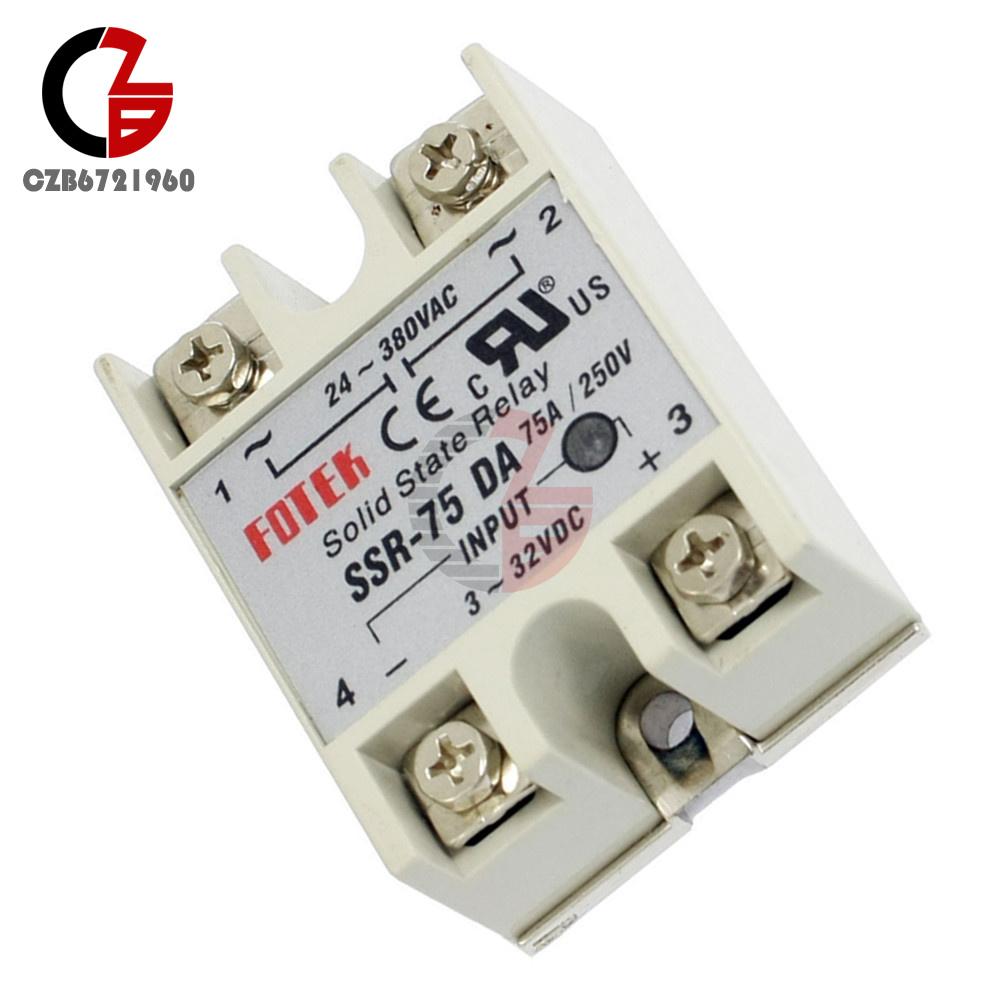 75A 24V-380V 250V SSR-75 DA Solid State Relay Module 3-32V DC to AC