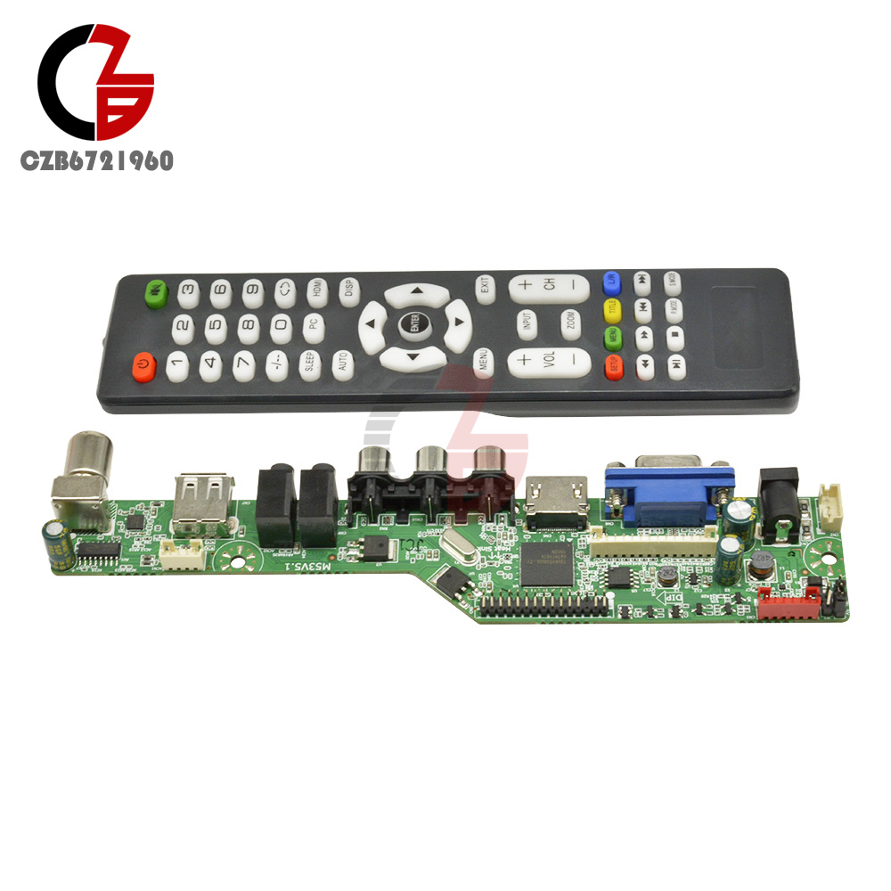 V29 Universal LCD TV Controller Board TV Motherboard VGA//AV//TV//USB DC 12V