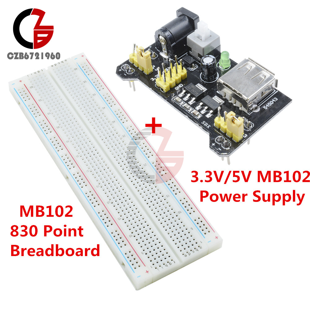 Solderless Power Supply Module MB102 Breadboard Bread Board Pcb 830Po xc 3.3//5V