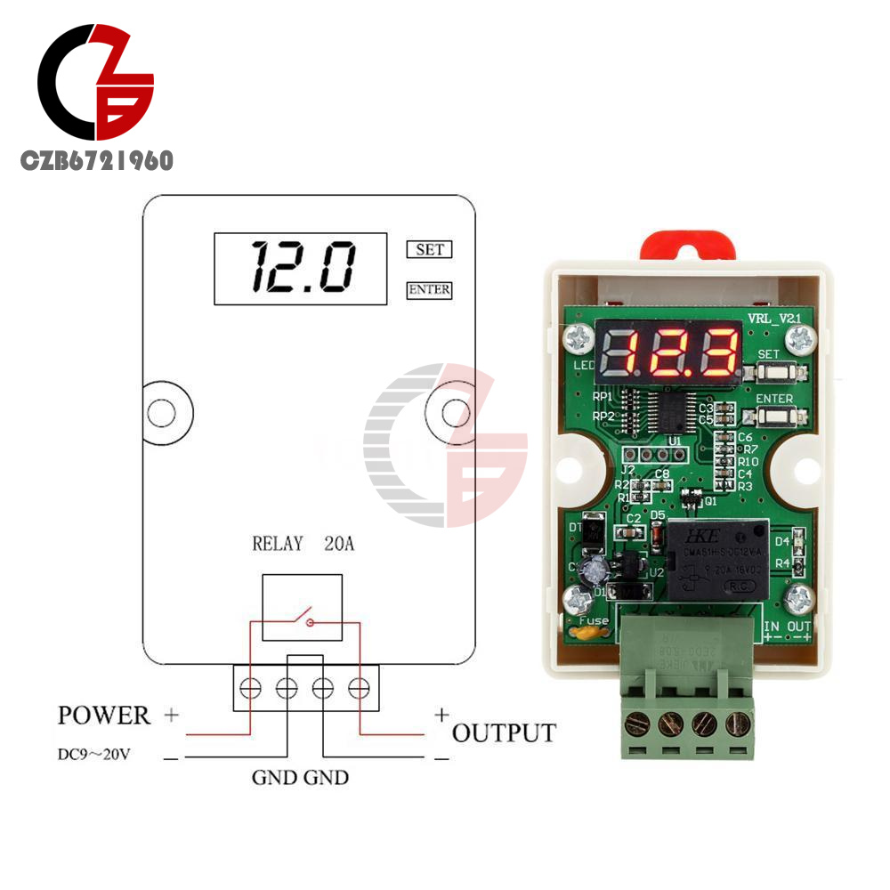 12V 20A Relay Voltage Controller Delay Under Voltage Protection For Car Battery