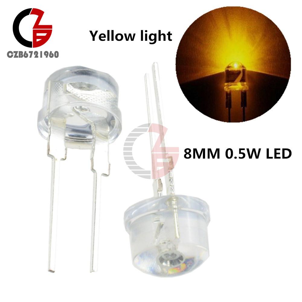 100pcs x 0.5W 8mm StrawHat White LED Light Emitting Diode