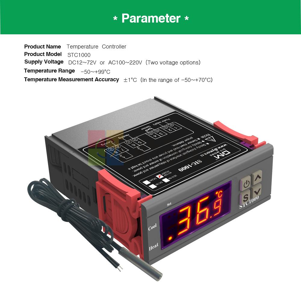 Digital 110-220V AC STC-1000 Temperature Controller Thermostat Aquarium Sensor