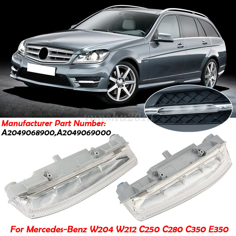Left/&Right Front Bumper Fog Lamp Light Grille Cover For Mercedes Benz C-Class *2