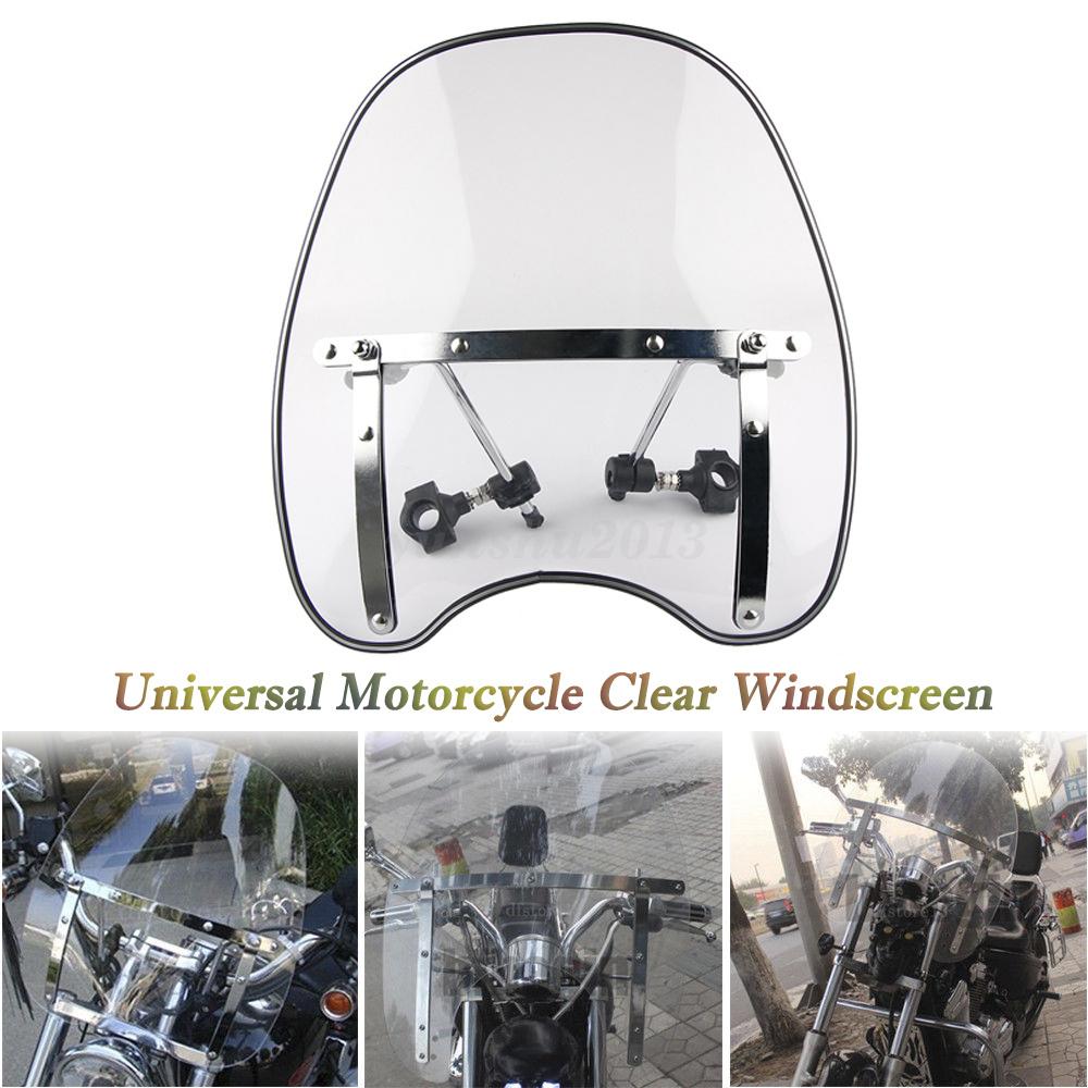"Clear 7//8/""/&1/"" Handlebar Mount Motorcycle Windshield Windscreen For Harley"