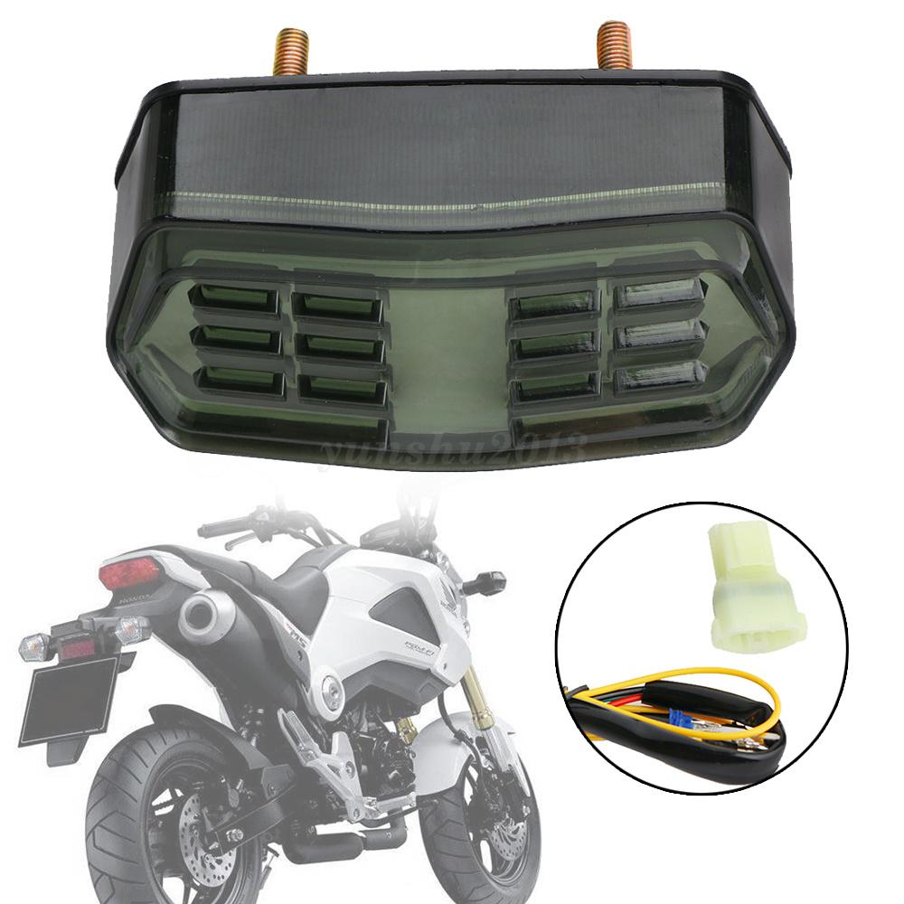 Integrated LED Turn Signal Brake Tail Light Smoke For 13-16 Honda Grom MSX 125