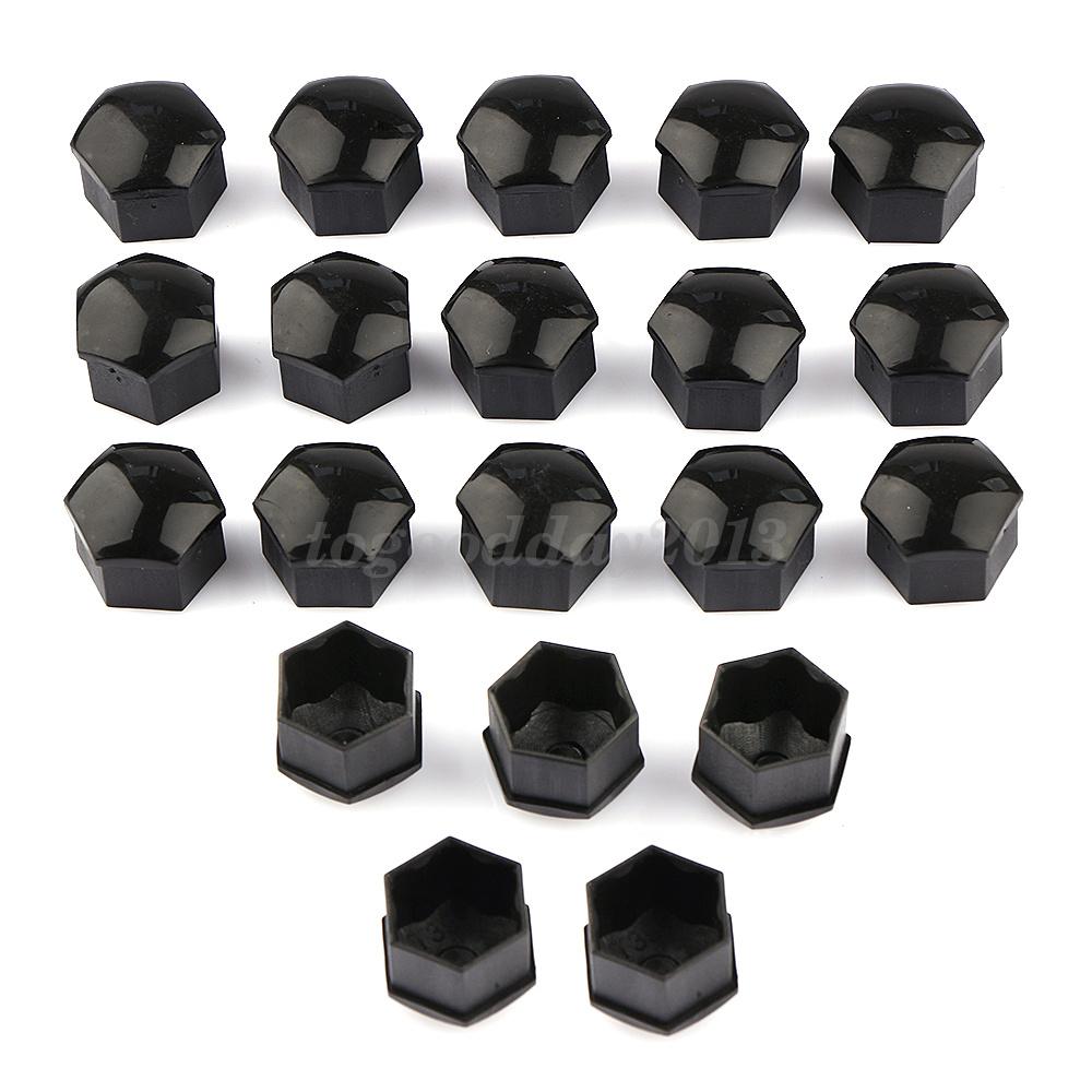 20PCS Black 19mm Smooth Black Wheel Nut Bolt Covers Caps Universal Set For Car
