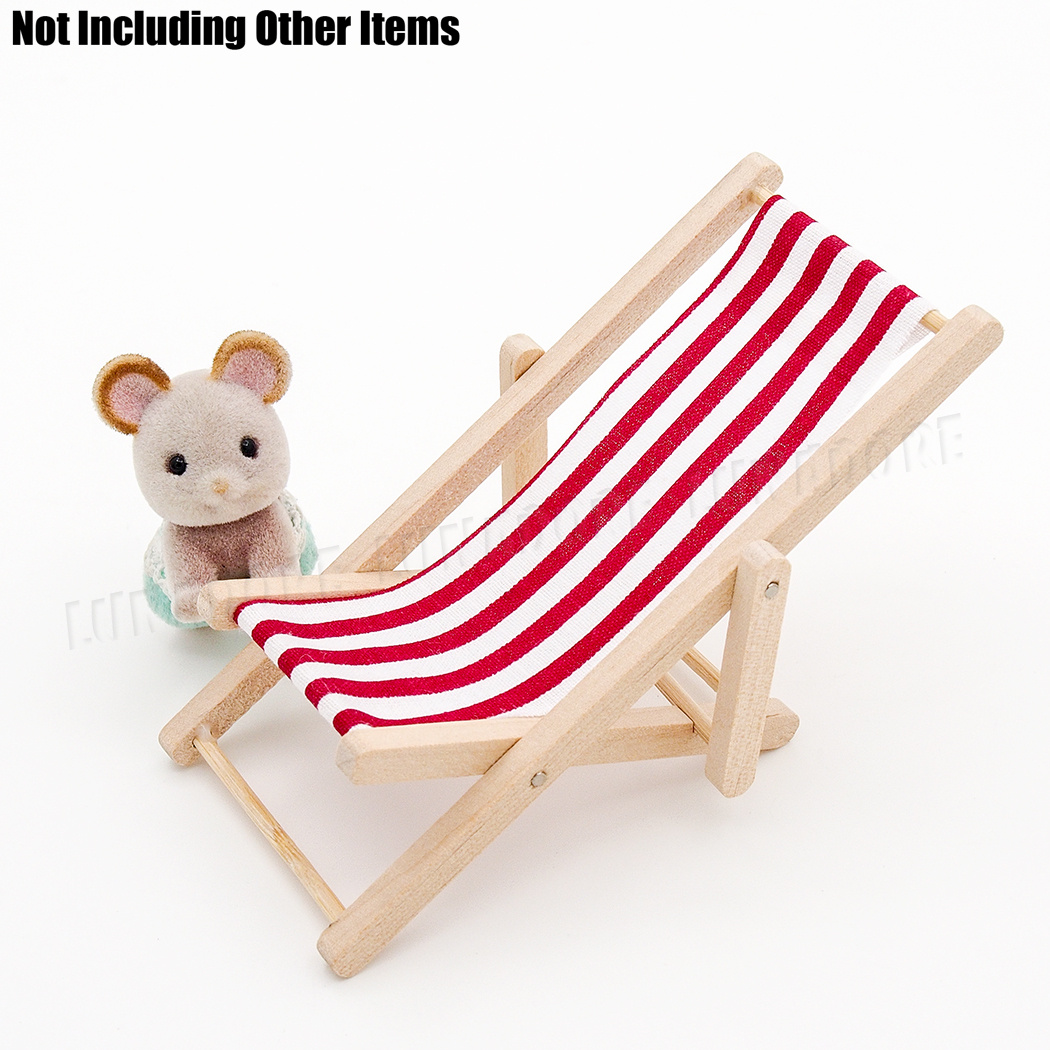 Details About 1 12 Dollhouse Miniature Stripe Red Foldable Beach Chair Wood Furniture Diy Toy