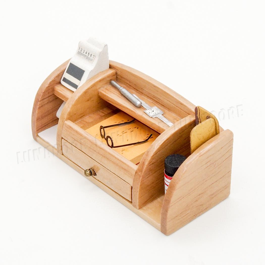 Mahogany Wood Desk Organiser Stationery Box Set Miniature Work Drawer Dollhouse