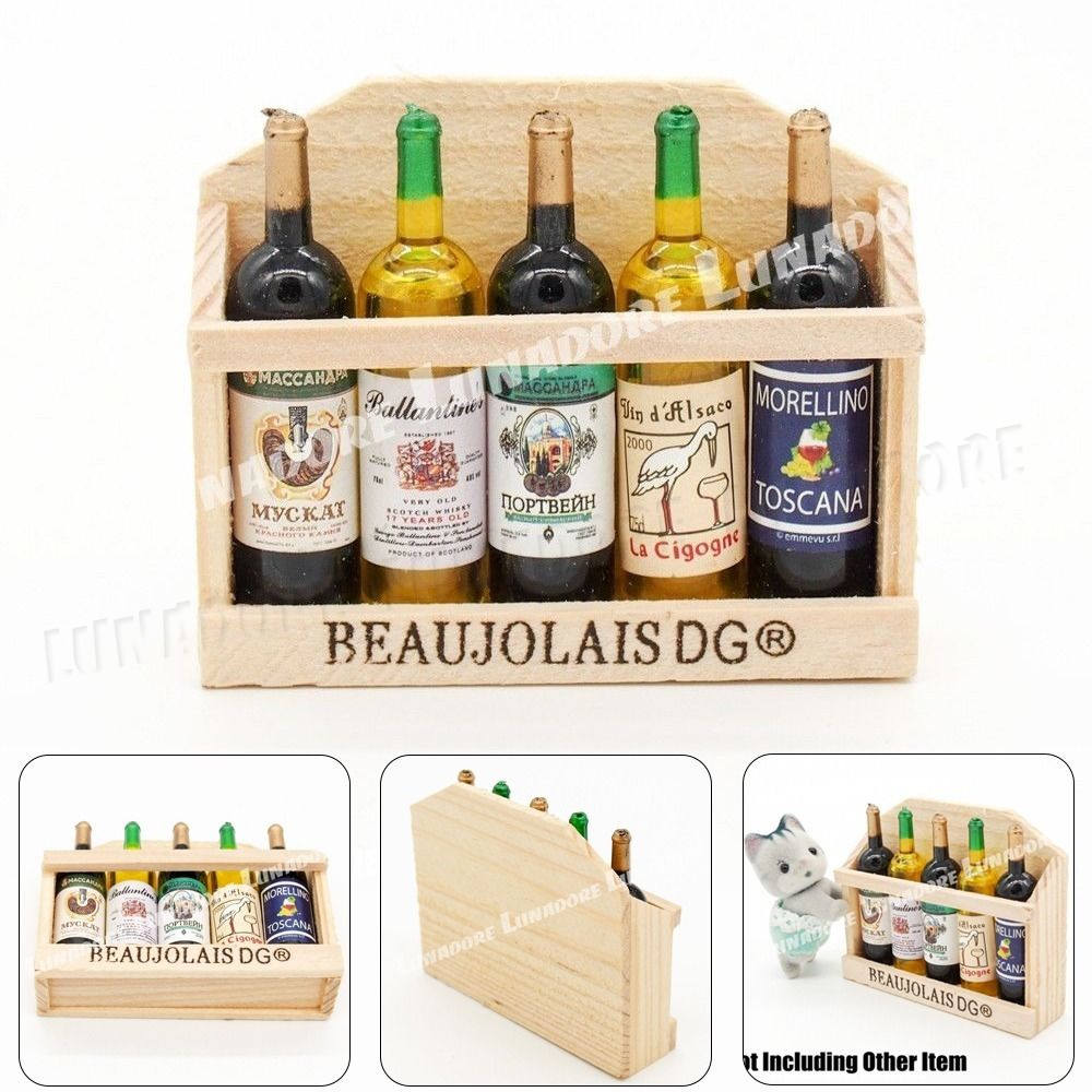 2pcs 1//12 Dollhouse Miniature Accessories Mini Red Wine Glass Bottle  In UKNV