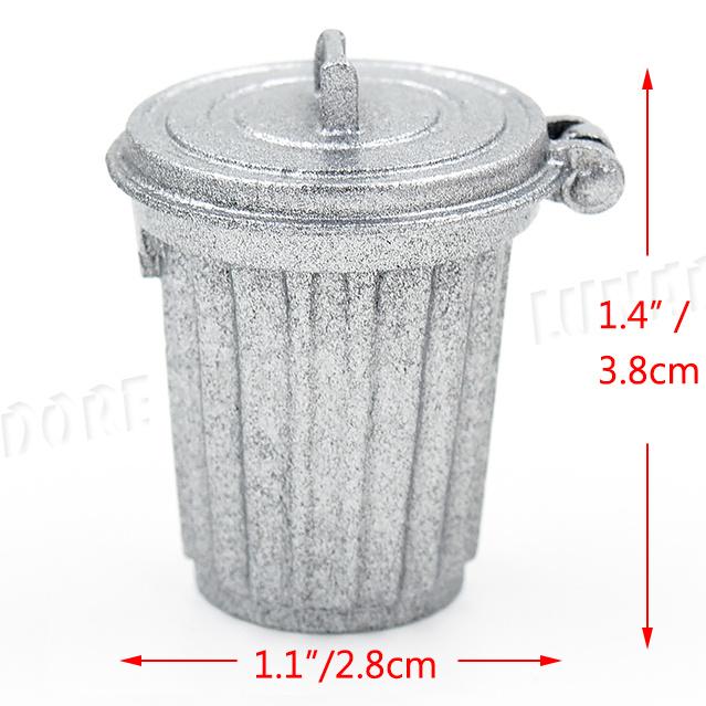 1:12 Dollhouse Miniature Furniture Home Garden Trash Can Garbage Bin Silver ♫