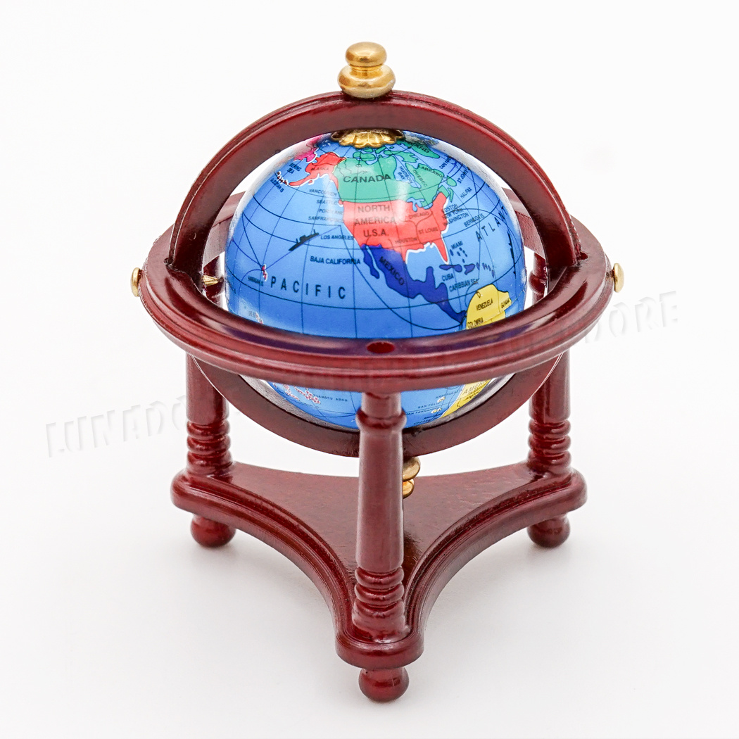 1:12 Dollhouse Miniature Study Room World Globe With Red Wood Stand OB009C
