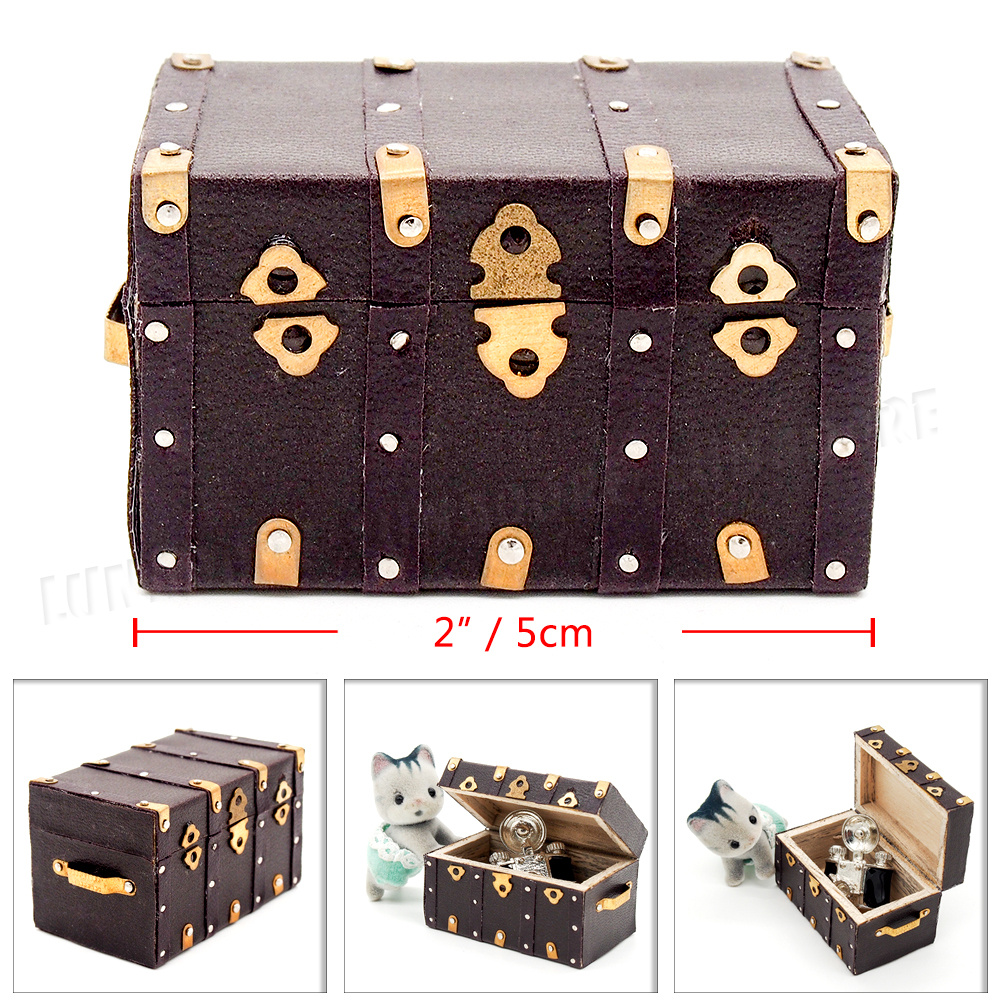 1:12 Miniature Wooden Treasure Chest Vintage Wine Case Box Dollhouse Accessory